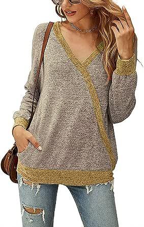 OrientalPort Maglia da donna con scollo a V, a maniche lunghe, casual, colore a contrasto