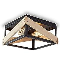 ENCOFT Plafonnier Carré Industriel en Métal et Bois, Plafonnier Luminaire Interieur 2 Lumière pour Chambre Cuisine Salle…