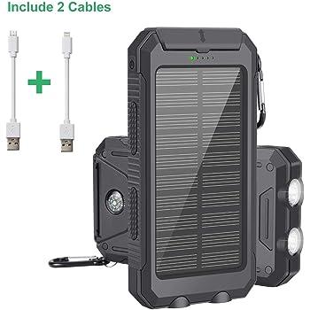 Caricabatterie Solare, Solar Power Bank 10000mAh con Cavo IOS e Android, Esterno Pack Caricatore USB Doppio Caricabatterie con 2 Torce Moschettone e Bussola per Emergenza, Campeggio, All'aperto