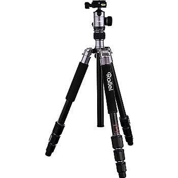 Rollei C5i - kompaktes und leichtes Kamera Stativ aus Aluminium, Umbau zum Einbeinstativ möglich und mit drehbarer Mittelsäule, Arca Swiss kompatibel, inkl. Kugelkopf und Stativtasche - Titan