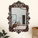 WallMantra Beautiful Vanity Mirror in Motif Design Walnut Finish