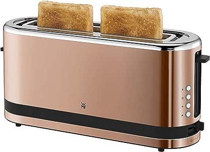 WMF Küchenminis Toaster Langschlitz mit Brötchenaufsatz, 2 Scheiben, XXL, Bagel-Funktion, 7 Bräunungsstufen, 900W, Toaster edelstahl matt, kupfer