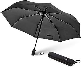 SWISSONA Regenschirm in schwarz, winddicht, leicht & kompakt, Auf-Zu-Automatik inkl. Schirm Tasche | 2 Jahre Zufriedenheitsgarantie | Taschenschirm, Reise-Regenschirm, Outdoor-Regenschirm, Automatik-Regenschirm
