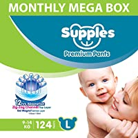 Supples Baby Diaper Pants, Monthly Mega-Box, Large (9 - 14 kg), 124 Count