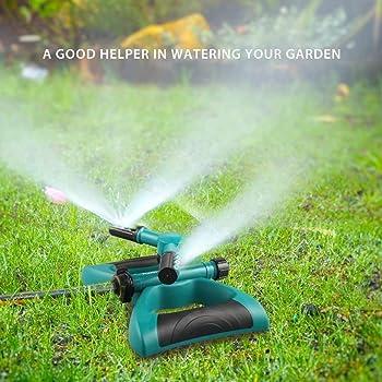 Gesentur Arroseur de Jardin, Automatique d'arrosage Pistolets Rotatif avec 3 Têtes 360 Degrées Arrosage Irrigation pour Gazon Pelouse Jardin, Facile de Raccordements de Tuyaux
