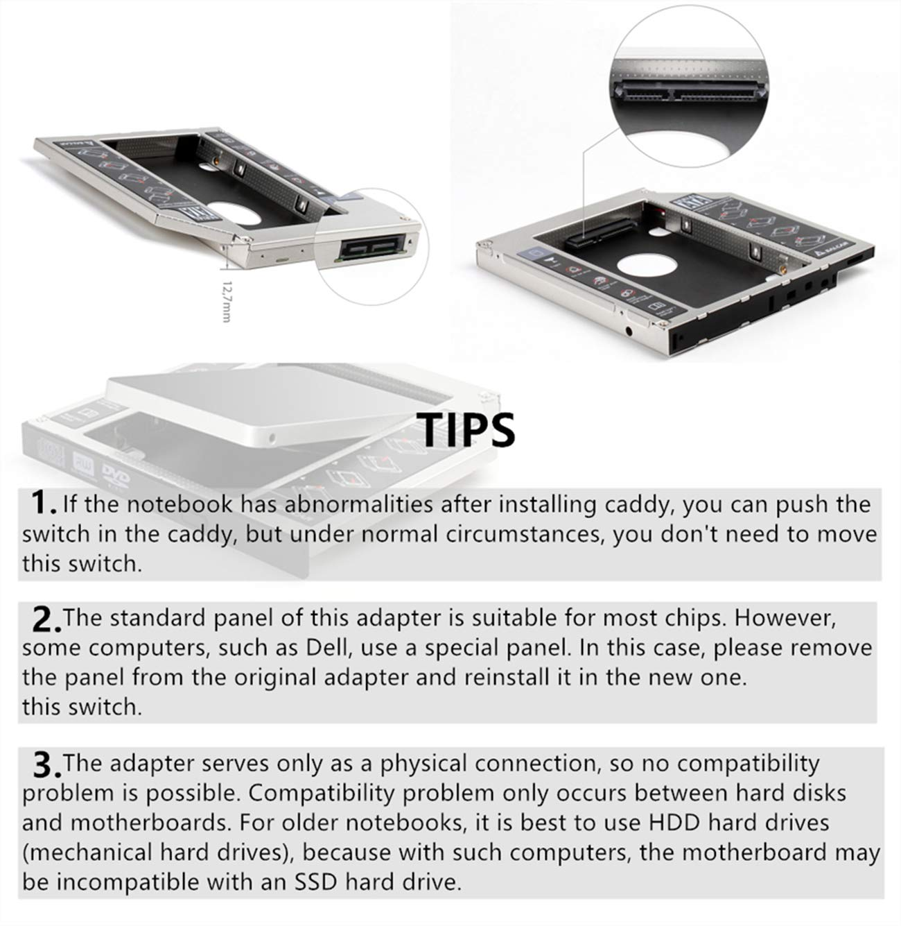 "SALCAR® - Adaptador de Disco Duro SATA 2,5"" - 2. HDD Caddy Kit - Reemplaza Unidad óptica SATA 12,7mm - para Laptop SATA"