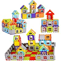 Techhark® Blocks for Kids , 60+ Pieces House Construction Building Blocks for Boys with Windows Toy Set, Smooth Rounded…