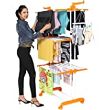 Happer Premium Double Supported 3 Layer Cloth Drying Stand with Breaking Wheels, Prince Jumbo (orange) Stainless Steel Plasti