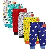 EIO Baby Boys Girls Cotton All Over Print Pajama Rib Pants (Pack of 6) (Boys Prints, 3-6 Months)