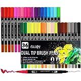 Filzstifte Set, Surcotto 36 Farben Aquarell Dual Brush Pen, Pinselstifte 1-2 mm und Doppelfasermaler Fineliner 0,4 mm, Für Ma