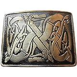 Scottish Highland Celtic Entwined Pattern Design Kilt Belt Buckle Brass Finish