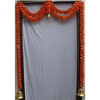 SPHINX Artificial Marigold Fluffy Flowers Garlands Toran Set/Door Hangings (Dark Orange, 1 Piece)