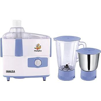 Inalsa Champion 450-Watt Juicer Mixer Grinder (White/Light Blue)