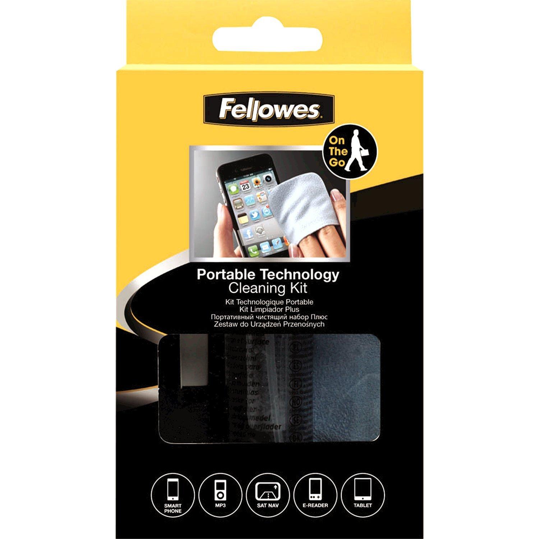 Fellowes Portable Technology Cleaning Kit - equipment cleansing kit (Dry Cloths & Liquid, Lenses/Gl