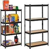 """STAR WORK Adjustable Industrial Storage Shelving Unit Boltless Rivet Rack (54"""" H x 24"""" L x 12"""" D , Beige and Black)"""