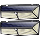 Luz Solar Exterior, [2020 Más Brillante Modelo 288 LED 2500 Lumens 2-Paquete] iPosible 270 °Iluminación Foco Solar con Sensor