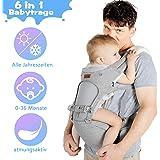 Lictin Babytrage Bauchtrage 3,5-20kg für Neugeborene 6 in 1 Ergonomische Baby Trage für alle Jahreszeiten mit CE…