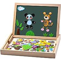 Uping Puzzles en Bois Magnétique 100 Pièces, Tableau Double Face Aimanté, Planche à Dessin Stylos Colorés Craies, Jouet…