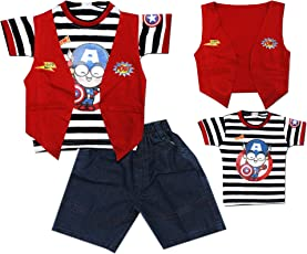 Kid's Care Printed Cotton T-Shirt with Jacket and Denim Half Pant Set for Boys(8244)