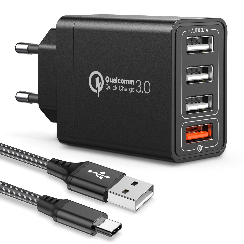 JOOMFEEN Quick Charge 3.0 Cargador USB de Pared con Cable USB Tipo C,30W QC 3.0 Cargador Móvil 4 Puertos Cargador de Red USB Carga Rapida para Samsung Galaxy S10E/S9/S8/Note8,Huawei P20,Xiaomi(Negro)