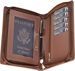 Storite Leather Passport Holder/ID Card Case/Travel Wallet with Zipper Closure for Men and Women – Chocolate Brown
