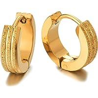 2 Oro Scanalato Strisce Orecchini a Cerchio, Orecchini da Uomo Donna, Acciaio Inossidabile, Lucido e Satinato
