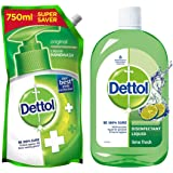 Dettol Original Germ Protection Handwash Liquid Soap Refill, 750ml and Dettol Liquid Disinfectant Cleaner for Home, Lime Fres