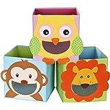 SONGMICS Lot de 3 Boîtes de Rangement, Organisateurs Jouets, Cubes Pliables, pour Salon, Chambre Enfant, Salle de Jeux, 27 x