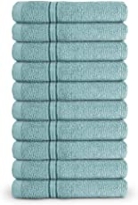 Swiss Republic Face Towels Set- Essential Plus collection 480 GSM made with 100% ring spun extra soft cotton with quick dry and double stitch line for extra long durability - set of 10 face towels with 2 YEARS replacement GUARANTEE. (Green)