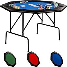 Maxstore Faltbarer Pokertisch für bis zu 8 Spieler, achteckig, Maße 120x120 cm, MDF Platte, Gepolsterte Armauflage, 8 Getränkehalter