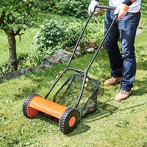 Vonhaus 30cm manual cylinder hand push garden lawn mower for Lawn mower cutting grass