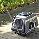 Petsfit fahrbarer Tierträger mit Teleskopstiel, portabler Reiseträger für große Hunde und Katzen mit Rollen - In hellgrau - 66 x 37 x 36 cm