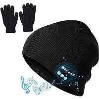 Cappello Bluetooth,1 Paio Caldo Inverno Antiscivolo A Maglia Guanti Touch Screen Con 1 Pz Bluetooth A Maglia Cappello…