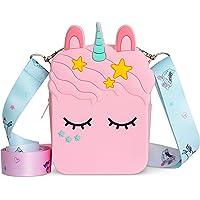 vammy Einhorn Umhängetasche aus Gummi für Mädchen. Größe: 13 cm x 5 cm x 10 cm. Einhorn Geschenke für Mädchen
