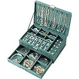 Amasava Boîte à Bijoux Velvet avec tiroir, boîte à Bijoux empilable Double Couche de Voyage, 27 * 19 * 10cm, Retro Green