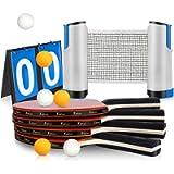 XDDIAS Set da Ping Pong,Professionale Tennis da Tavolo Racket Set , Racchetta/Pagaia + Palline/Sfere + 1 Regolabile Rete…