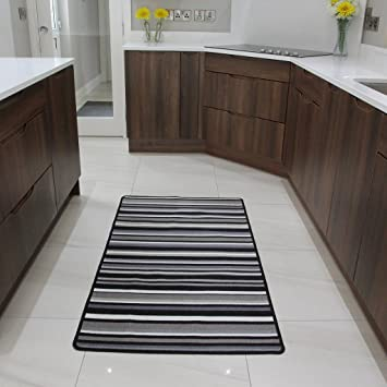 Black And Grey Stripe Affordable Machine Washable Anti Creep Kitchen Mat  Luna   9 Sizes Available: Amazon.co.uk: Kitchen U0026 Home