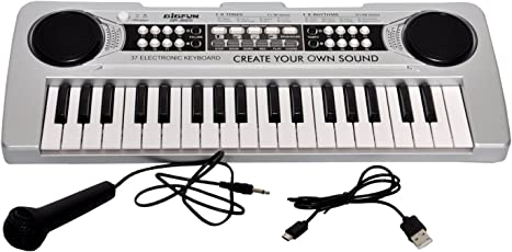 Toyshine 37 Keys Piano with DC output, USB Charging (USB Included) and Microphone