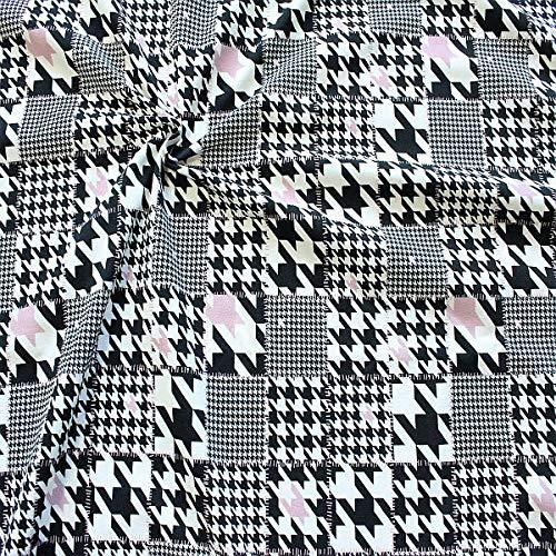 Baumwolle Hahnentritt-kleid Shirt (STOFFKONTOR Baumwoll Stretch Jersey Stoff Hahnentritt Mix Meterware Ecru-Schwarz-Rosa)