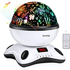 Moredig- Sternenhimmel projektor lampe, musik nachtlicht lampe 360° Grad Rotation mit LED-Anzeige und fernbedienung, 12 beruhigende musik + 8 romantische licht, perfektes geschenk für babys, kinder