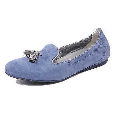 B4786 mocassino donna HOGAN WRAP 144 pantofola blu chiaro loafer shoe woman