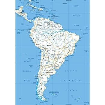 South America Political Map - Paper Laminated - A1 Size 59.4 x 84.1 ...
