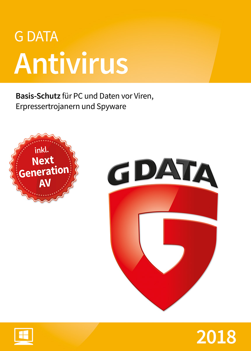 G DATA Antivirus 2018 für 1 Windows-PC / 1 Jahr / vielfach ausgezeichneter Virenscanner / Antivirensoftware / Trust in German Sicherheit  [Download]