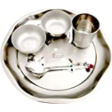 Prisha India Craft Stainless Steel Kids Little King Dinner Thali Set, 5 Pieces, Diameter 9.00 Inch