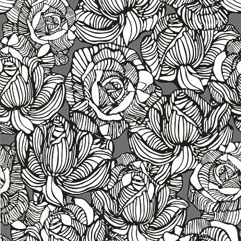 BHF 450-67345 Calista Modern Rose Wallpaper - Grey