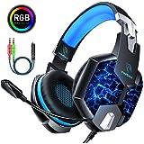 YINSAN Cuffie Gaming per PS4, Cuffie da Gioco Over Ear con Microfono, RGB LED, Audio Cavo 3.5mm e Controllo del Volume, Gaming Headset per Xbox One, Nintendo Switch, PC, Mac, Laptop, Smartphone Blue