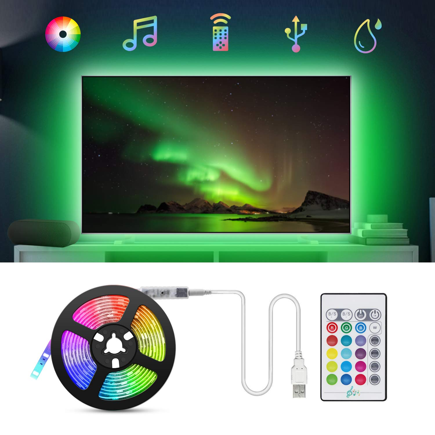 Tiras LED TV 2.2M, TASMOR Tira LED USB RGB 5050 Sincronización de Música, Retroiluminación TV Impermeable con Control Remoto, Luz LED TV Gaming con Autoadhesiva 3M para 30-60 Inchi TV/PC