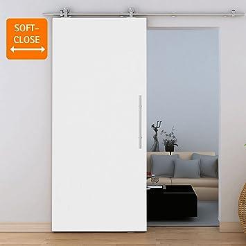 Zimmertür holz weiß  Schiebetür Holz weiß Zimmertür 775x2065mm mit Softeinzug offene ...