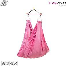 Furncoms 1031PA Hanging Baby Cradle Foldable Hammock Jhula Thuni Thottil, Pink