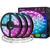 Olafus 15M Striscia LED RGB Sincronizza con Musica, Microfono Integrato, Strisce LED 44 Tasti Telecomando, 20 Colori 10 Modo